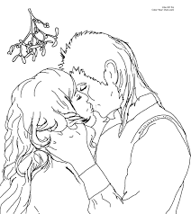 christmas kiss under the mistletoe coloring page