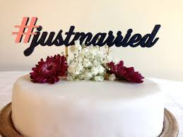 hashtag just married justmarried classic wedding cake topper