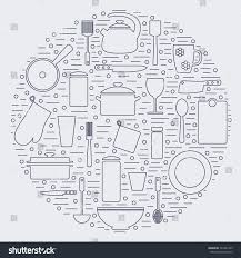 kitchenware icons modern kitchen tools pan stock vector 322451369