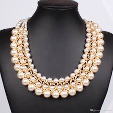statement necklace pearl images 2018 trendy classic statement necklace multi strand 3 layers pearl jpg