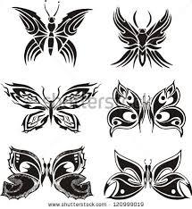 symmetric butterfly tattoos set black white stock vector 120999019