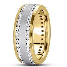 eternity wedding channel set men s diamond eternity wedding band 14k 2 tone gold