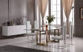 Glass Modern Dining Room Furniture Keaton Modern Glass U0026 Brass Dining Table