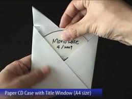 Origami Cd Cover - easy paper cd with title window a4 size