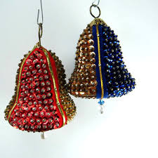 vintage sequin beaded 2 bell ornaments 1960 s era gold