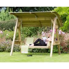 3 Seater Garden Swing Chair 3 Seat Wooden Garden Swing Canopy Chair Seat Bench Furniture Lounger