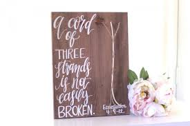 3 cords wedding ceremony a cord of three strands rustic wedding sign 3 cord ceremony sign