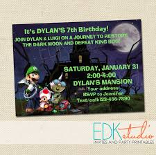 mario invitations luigi u0027s mansion invitation super mario birthday luigi