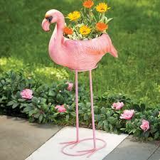 home garden flamingo planter