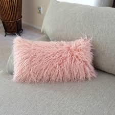 Faux Fur Throw Pillow Pink Salmon Faux Fur Lumbar Pillow Salmon Pink Throw Pillow