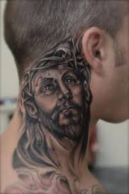 black and grey jesus on side neck