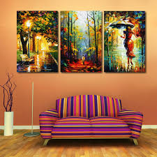 3 pieces walking in the rain hand painted landscape city bench night modern oil canvas painting