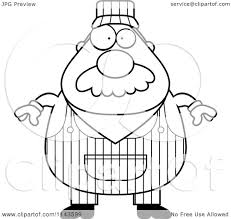 cartoon clipart of a black and white train engineer vector