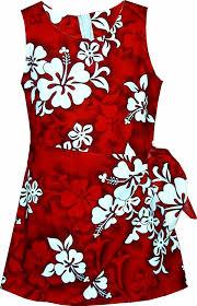 white hibiscus girls hawaiian print sarong dress red kids boys