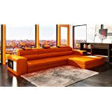 amazon com 2227 orange leather contemporary sectional sofa with