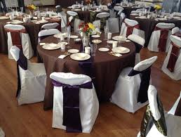 table sashes fall themed wedding with chocolate brown floor length table covers