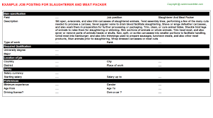 Packer Job Description Resume by Slaughterer And Meat Packer Job Title Docs
