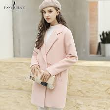 pinky is black double breasted women jacket coats new style long