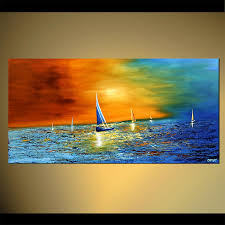 Abstract Landscape Painting by Original Abstract Art Paintings By Osnat Sailboats Abstract