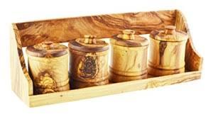 portaspezie in legno legno di ulivo portaspezie con 4 barattoli grano naturale