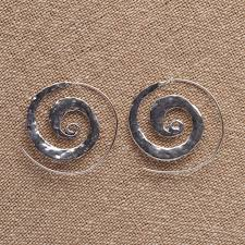 nickel free earrings handmade nickel free flat hammered silver spiral hoop earrings