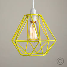 Yellow Pendant Light Modern Yellow Metal Wire Frame Ceiling Light Pendant Shade