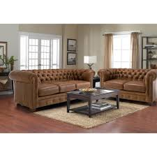 White Leather Tufted Sofa by Brown Leather Tufted Chesterfield Three Seater Sofa Plus Love Seat