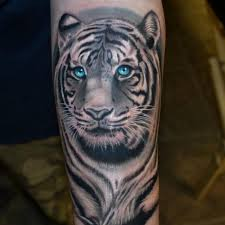blue white tiger on forearm