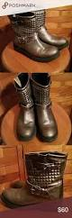 leather biker style boots ladies metallic leather biker boots sz 39 biker boots