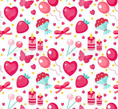 seamless pattern valentines day with strawberries