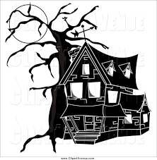 scary house black and white clipart clipground