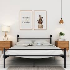 vecelo full queen twin size platform bed frame box spring