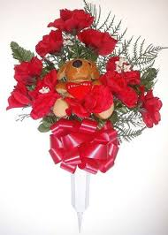 Red Flowers In A Vase Cemetery Vases With Beautiful Artificial Flower Arrangements