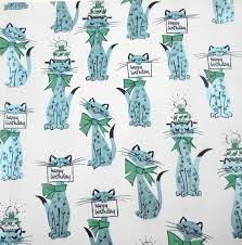 vintage 1950s or 1960s birthday wrapping paper or gift wrap