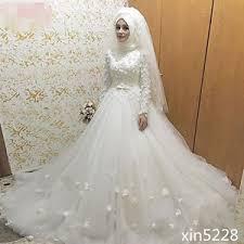 muslim wedding dress 2017 vintage muslim wedding dress a line flowers arabic bridal