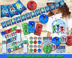 pj masks birthday party package pj masks happykidsprint etsy