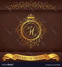 letter h luxury logo template flourishes vector image