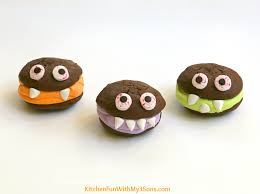 halloween monster sandwich cookies kitchen fun with my 3 sons