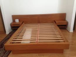 Modern Queen Platform Bed King Size Mid Century Modern Bed Frame Design And Night Tables
