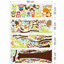 jungle animals tree vinyl wall stickers kids bedroom wallpaper