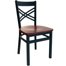 Cross Back Bistro Chair Bfm Seating Akrin Black Metal Cross Back Restaurant Chair With