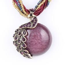 purple stone necklace images Buy online necklace set peacock necklace with purple turquoise jpg