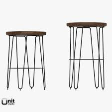 3d model hairpin bar stool by west elm cgtrader