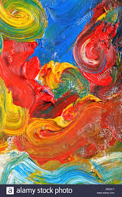 artists abstract oil painting showing vibrant colors texture and flow