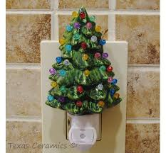 little green ceramic christmas tree night light with automatic li