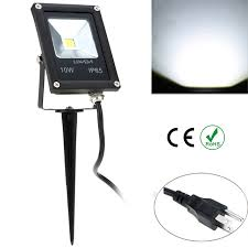 outdoor flood light stake 10w 85 265v ip65 ultrathin led flood light with wire stake eu plug