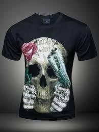 imagenes de calaveras hombres calavera multicolor pistola impresión algodón camiseta para los