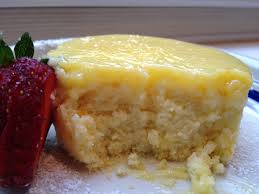 meyer lemon pudding cake and hen