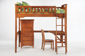 furniture brown wood bunk bed with l shaped desk and standing