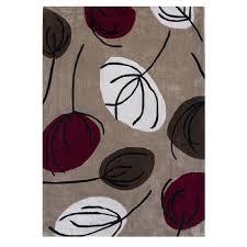 brown u0026 red leaf print modern rug atlanta kukoon